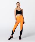 Damen Frontier Leggings zweifarbig, Schwarz-Orange