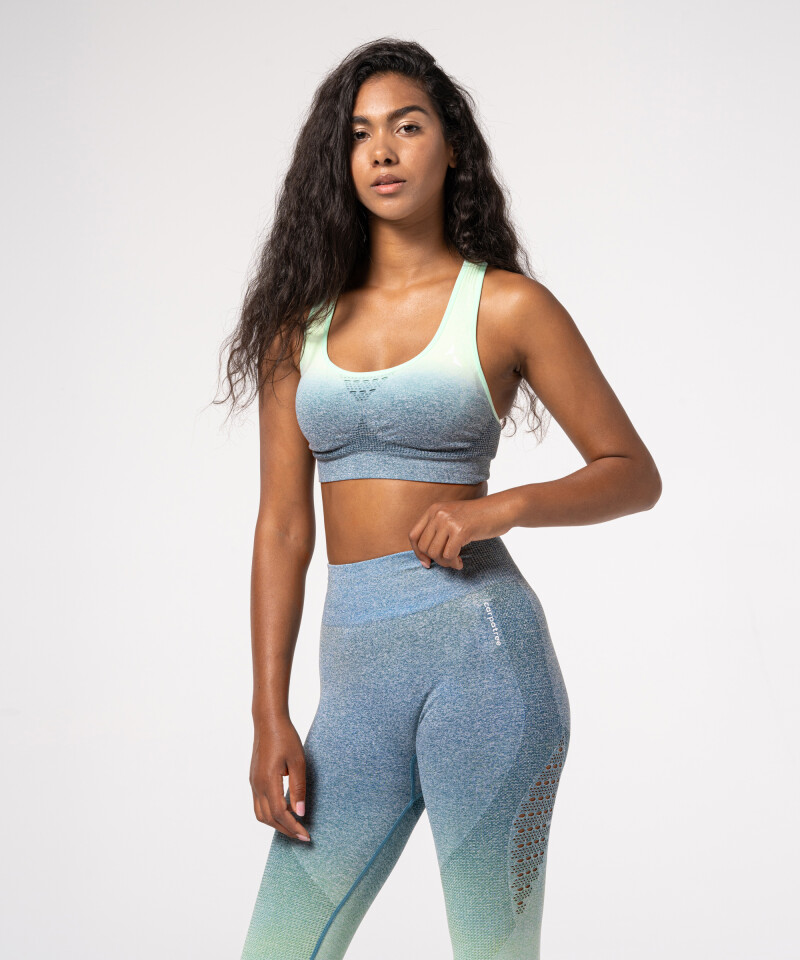 Blue & Mint Ombre Phase Seamless Bra