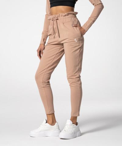 Beżowe spodnie Paperbag