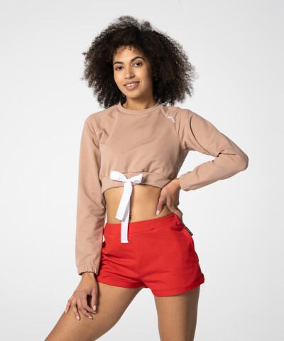 Beiges Tilia Cropped Sweatshirt für Damen 1