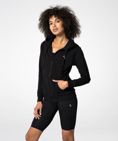 Damen Basic Zipper Hoodie in Schwarz 1