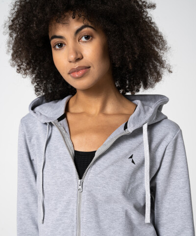 Damen Basic Zipper Hoodie in Grau 1