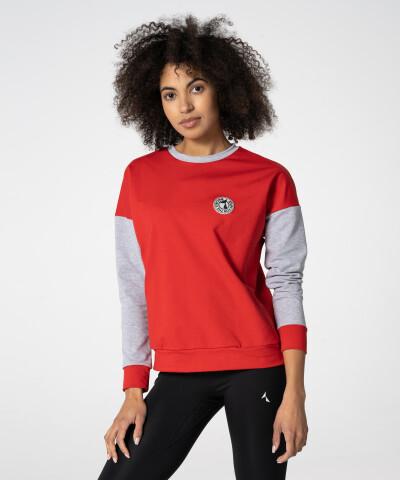 Rot-Graues College Sweatshirt für Damen 1