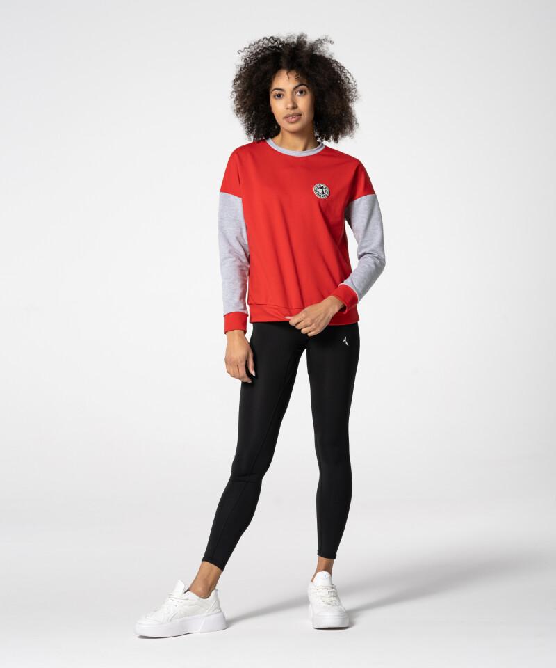 red loose college sweatshirt