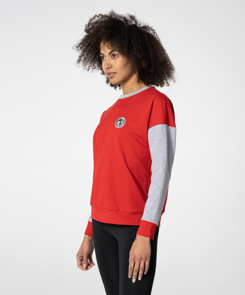 red & grey unisex sweatshirt