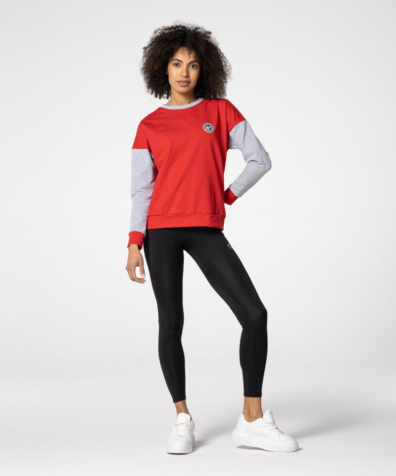 Red loose sports sweatshirt