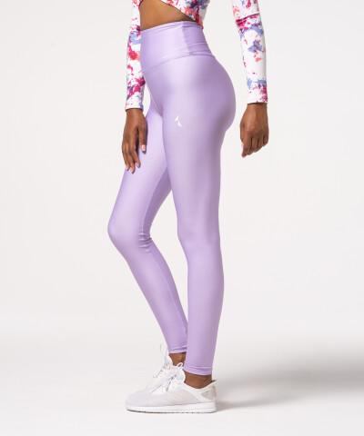 Damen Impression Leggings mit hohem Bund in Lila, einfarbig 1