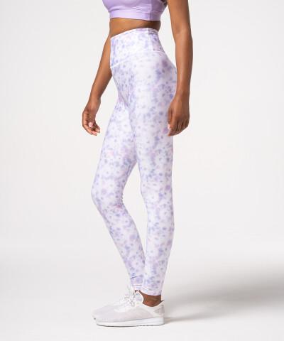 Damen Impression Leggings mit hohem Bund in Lila, Tie Dye 1