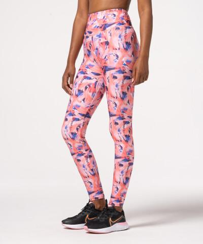 Damen Impression Leggings mit hohem Bund in Pink, mit Muster 1