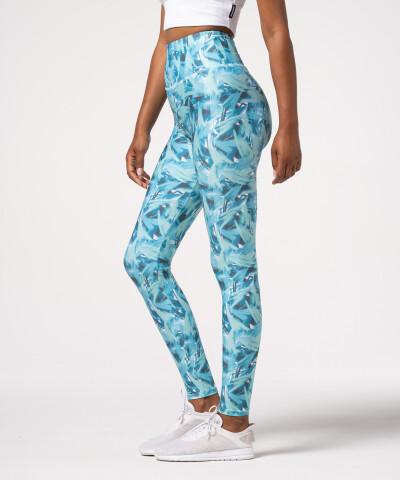 Damen Impression Leggings mit hohem Bund in Blau 1