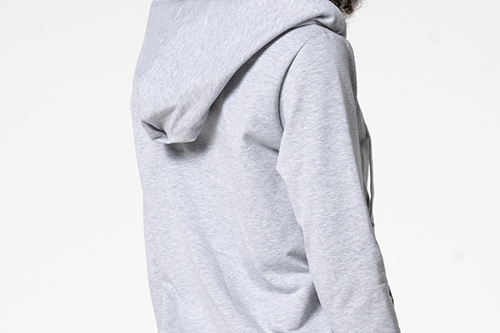 grey elastic zipper hoodie