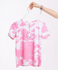 Pink Cow t-shirt - white with pink patches, WowCow