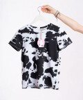 T-shirt Black Cow - white with black patches, WowCow
