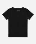 V-neck women's t-shirt - black, Basiclo