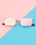 Okulary przeciwsłoneczne z polaryzacją Metal Pink, Różowe okulary lenonki przeciwsłoneczne
