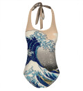 Kanagawa Wave Open Back Swimsuit