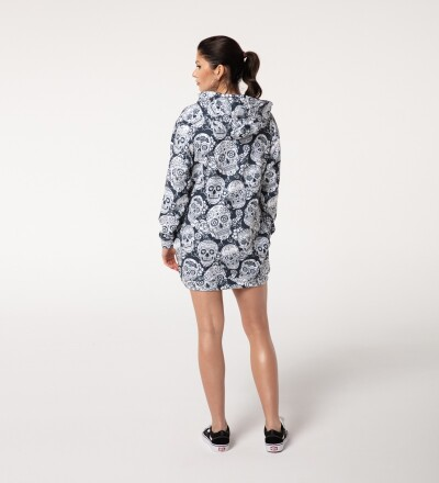 Sukienka Oversize z Kapturem - Skull Flower