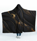 Black and gold Hooded Blanket