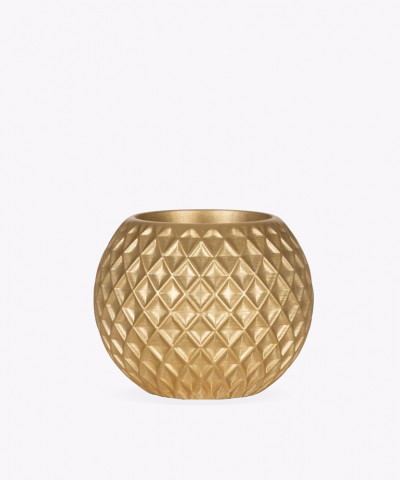 Złota betonowa doniczka kula