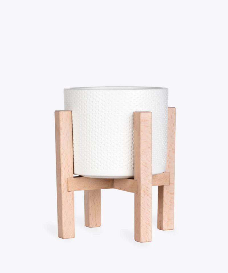 Stojak drewniany w kolorze naturalnym z kremową doniczką