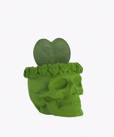 Hoja Kerri w zielonej betonowej czaszce flower