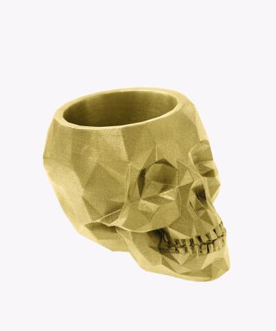 Doniczka czaszka złota osłonka betonowa