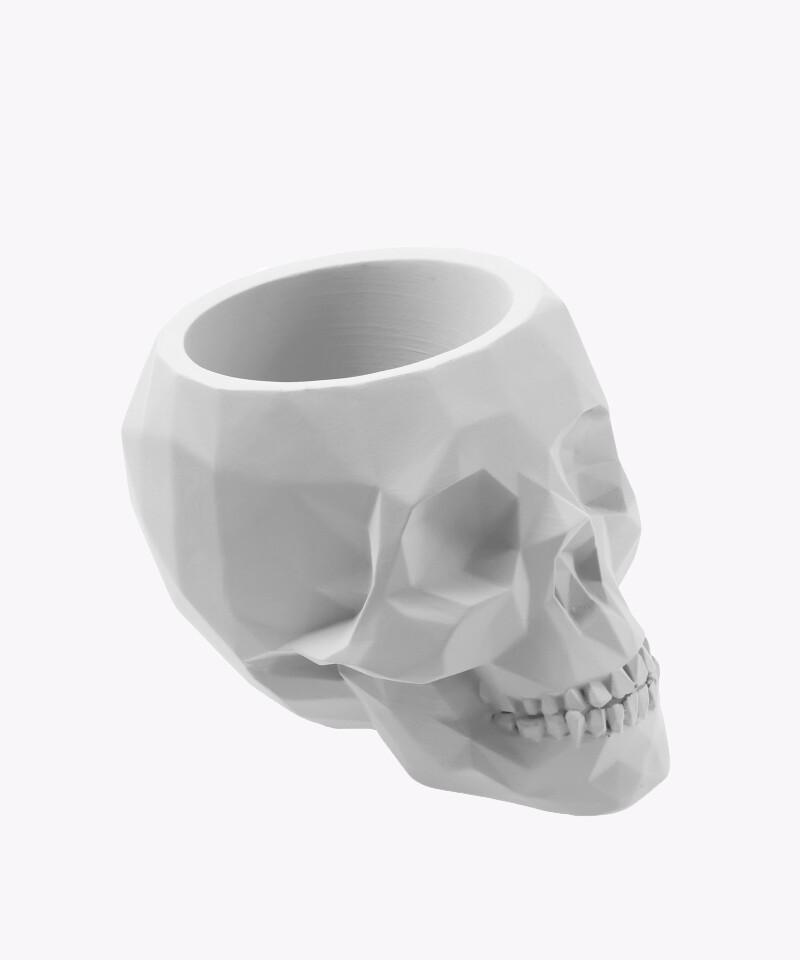 Doniczka czaszka biała matowa osłonka betonowa