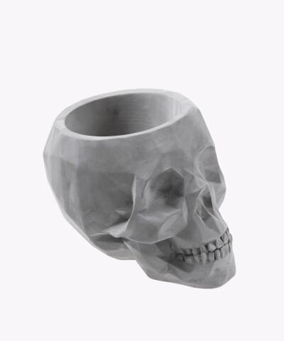 Doniczka czaszka szara osłonka betonowa