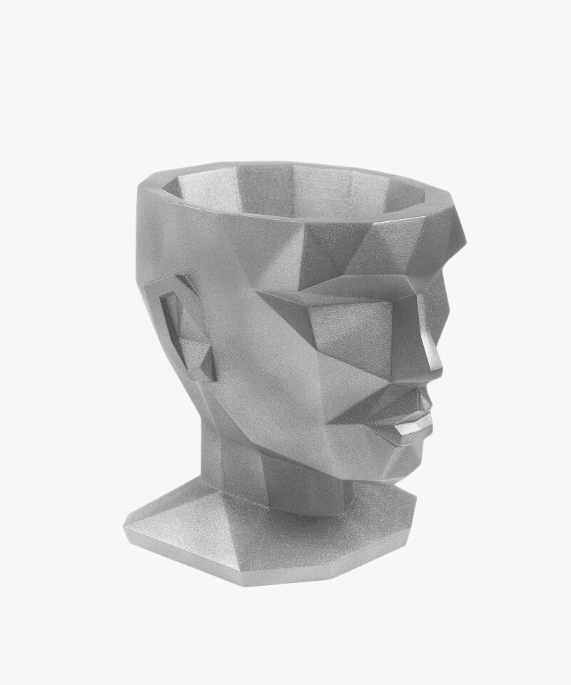 Doniczka Afrodyta srebrna silver osłonka betonowa ⌀ 13,5 cm
