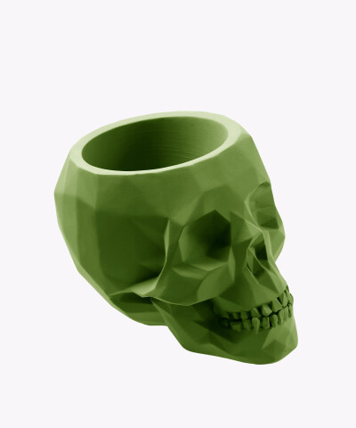 Doniczka czaszka zielona osłonka betonowa ⌀ 24 cm
