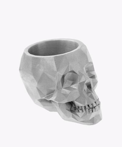 Doniczka czaszka srebrna silver osłonka betonowa ⌀ 11 cm