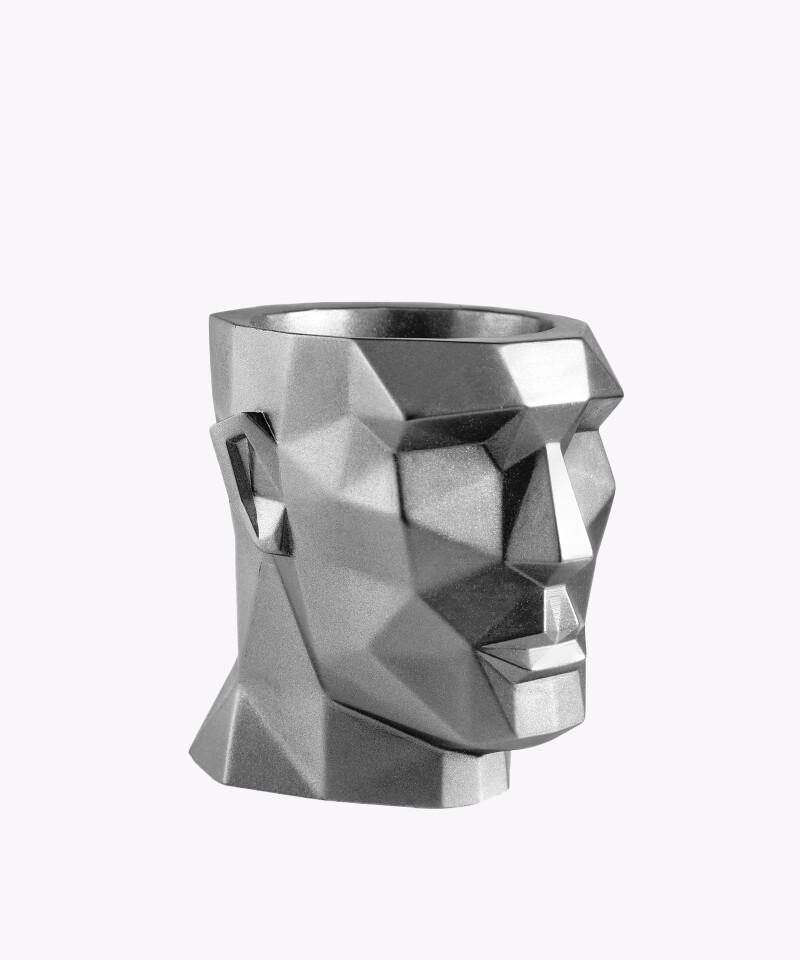 Doniczka Apollo silver osłonka betonowa ⌀ 12 cm