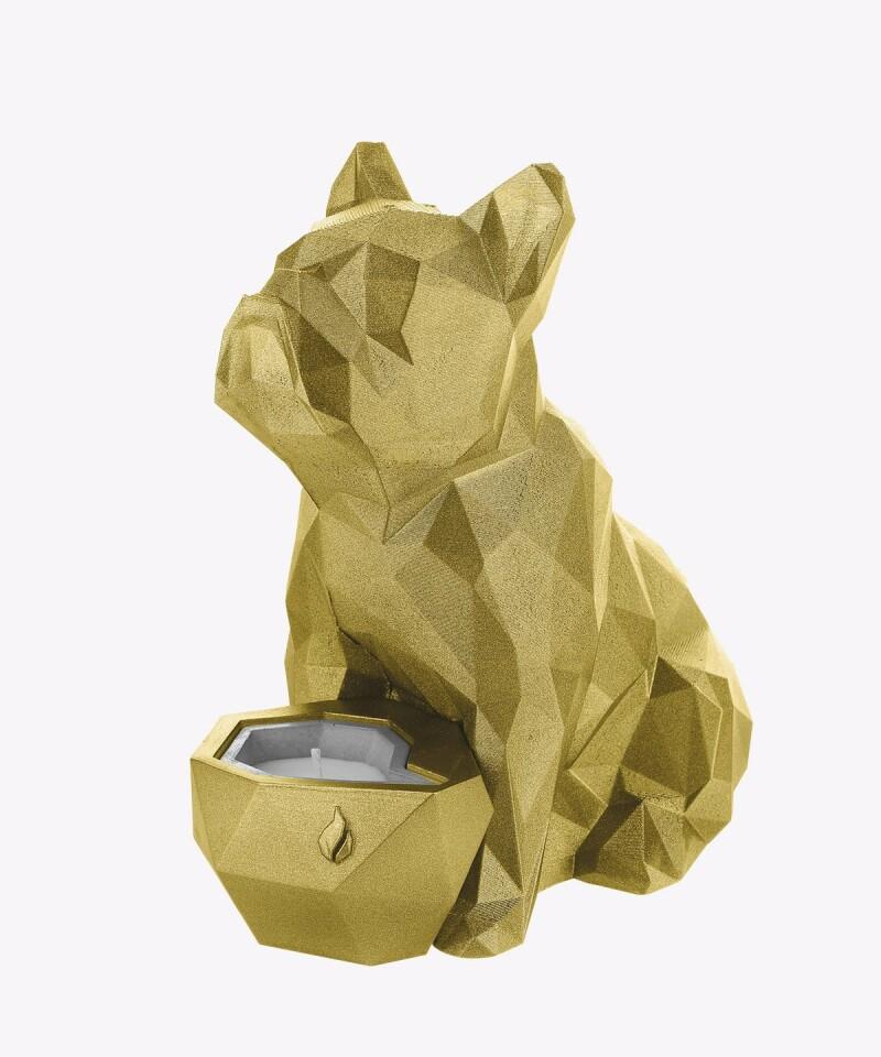 Złoty świecznik z betonu LIZZIO - Buldog XL