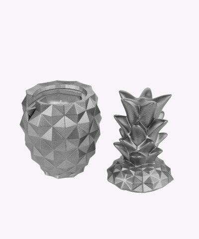 Srebrny świecznik z betonu LIZZIO - Ananas L