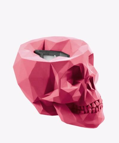 Różowy świecznik z betonu - Czaszka L - LIZZIO