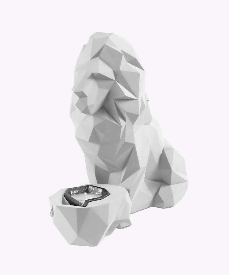 Biały świecznik z podgrzewaczem LIZZIO - Lew XL