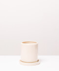 Doniczka ceramiczna z podstawką, w kolorze kremowym ⌀ 9 cm