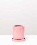 Doniczka ceramiczna z podstawką, w kolorze różowym ⌀ 9 cm