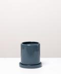 Doniczka ceramiczna z podstawką, w kolorze szarym ⌀ 9 cm