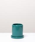 Doniczka ceramiczna z podstawką, w kolorze turkusowym ⌀ 9 cm