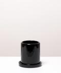 Doniczka ceramiczna z podstawką, w kolorze czarnym ⌀ 9 cm