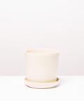 Doniczka ceramiczna z podstawką, w kolorze beżowym ⌀ 13 cm