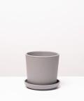 Doniczka ceramiczna z podstawką, w kolorze szarym ⌀ 13 cm
