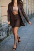 BARI, Dopasowana brązowa spódnica