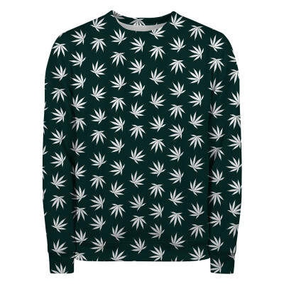 WEED PATTERN GREEN Sweater
