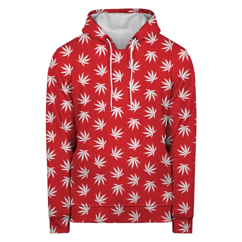 Bluza z kapturem WEED PATTERN RED