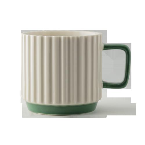 Porcelanowy kubek Pillar biel/zieleń 10oz