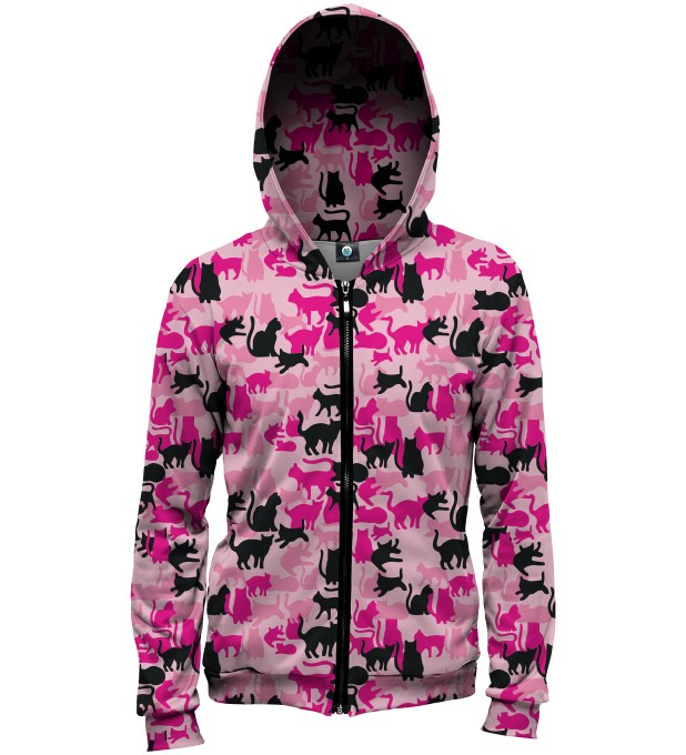 PINK CAMO CATS HOODIE Thumbnail 1