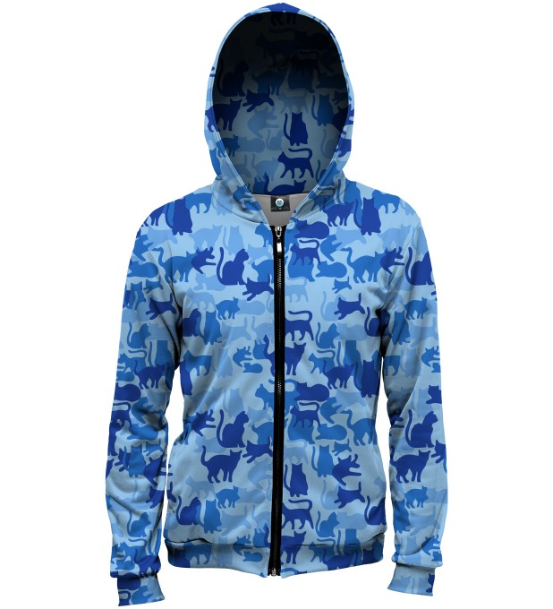 BLUE CAMO CATS HOODIE Thumbnail 1