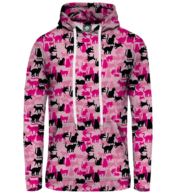 PINK CAMO CATS PULLOVER HOODIE Thumbnail 1